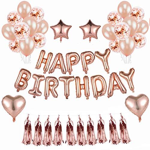 BRT Rose Gold Birthday Party Luftballons Dekorationen Selbstaufblasende Folie Geburtstagsparty Banner Stern Herz Ballon Konfetti Luftballons Latex Ballon für Birthday Party Supplies ()