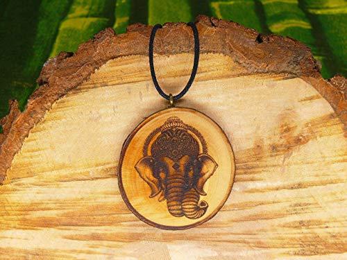 SOULSLICES Ganesha - Elefant 2 Holz Kette - Hindu - Buddhismus - Gottheit - Nachhaltig - Hinduschmuck - Yoga-Schmuck - Damen-Kette, Herren-Kette, Männer Frauen