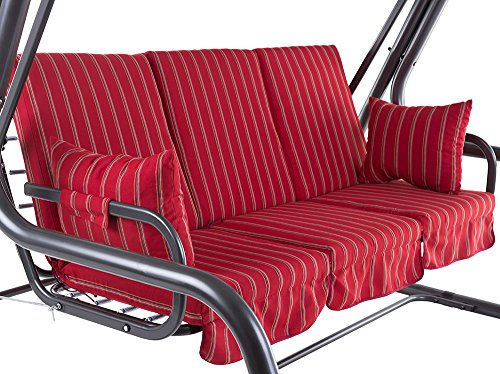 Dajar 466492 Auflagenset für 4-Sitzer Hollywoodschaukel Rimini C033-03SB Patio, Rot, 115 x 60 x 9 cm