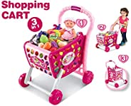 Popsugar - TH008-903 Shopping Cart with Fruits, Vegetables and Snacks for Kids | Role Play Toys for Boys and G