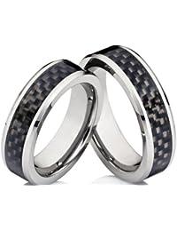 2 Ringe Trauringe Eheringe Hochzeitsringe Verlobungsringe Freundschaftsringe mit Carbon - Inlay und gratis Gravur im Set