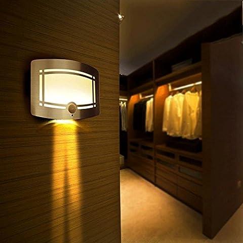 Nuovo LED notte luce lampada da comodino camera da letto corridoio corpo umano lampade ad induzione (0, 7W)