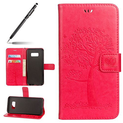 Uposao Kompatibel mit Galaxy S7 Handytasche Eule Baum Muster Flip Case Cover Hülle Book Case Schutzhülle Ledertasche Lederhülle Brieftasche Klapphülle,Rose Rot