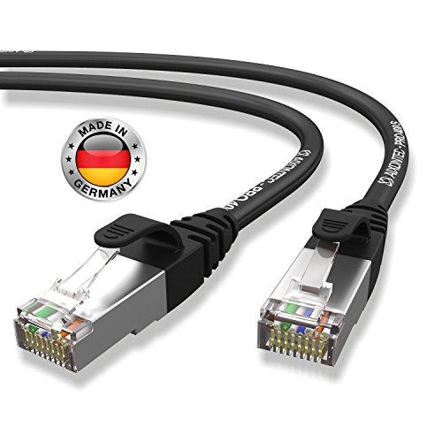 AIXONTEC® I Netzwerk-Kabel Cat6 25m schwarz Patch-Kabel Ethernet-Kabel Powerlan Gigabit Ethernet Kupfer pimf twisted-pair-kabel rj45 kabel I Switch Router Server PC Laptop Scanner Access Point Modemel | Draka Kabel (PiMF) 400 MHz.| 2 X RJ45 geschirmter Stecker mit 30 µ vergoldete Kontakte | 10/100/1000Mbit/s -