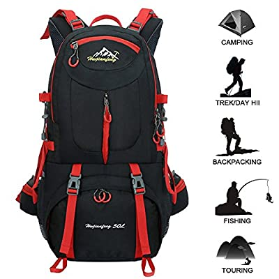 50L Hiking Backpack Waterproof Backpacking Outdoor Sport Daypack for Climbing Mountaineering Camping Fishing Travel Cycling Skiing(Black) by Butterfly Studio NO.1
