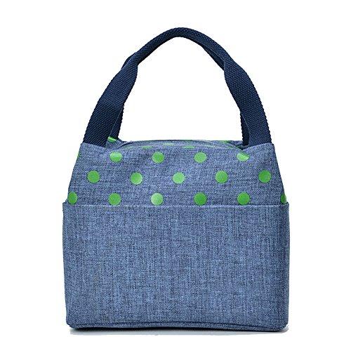 TININNA Donne Carino a pois impermeabile Addensare Oxford stoffa pranzo al sacco pranzo organizer Tote Bag pranzo Sacchetti Caffè Profondo blu