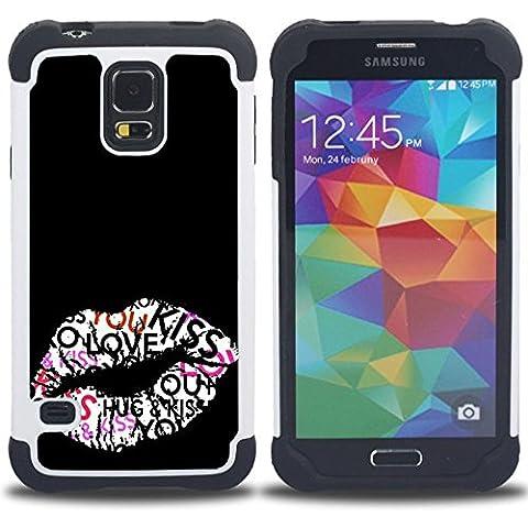 SAMSUNG Galaxy S5 V / i9600 / SM-G900 - 3 en 1 impreso colorido de Altas Prestaciones PC Funda chaqueta Negro cubierta gel silicona suave (Beso Labios Hug miel Sexy Negro