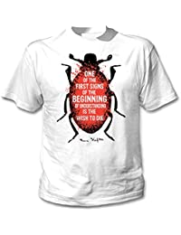 Teesquare1st Men's FRANZ KAFKA - WISH TO DIE White T-Shirt