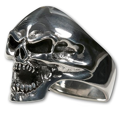 opf Ring Edelstahl - Biker Schmuck Herren - Rocker Schmuck Damen - Farbe silber - Motorrad Schmuck Skull Horror, Ring Grösse:20.0 mm (Noch Ein Tag Bis Halloween)
