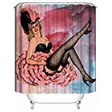 Knbob Duschvorhang Ornamente Glamour Girl Bunt Shower Curtain 150X180CM Inkl. Ringe Badezimmer Vorhänge
