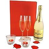 GESCHENK-SET CANDLE LIGHT | Sekt Freixenet Cava, 2 Sektgläser, 2 Duftkerzen im Glas | Hochzeitsgeschenk, Valentinstag, Gastgeschenk, Dankgeschön-geschenk, Geschenk zum Hochzeitstag
