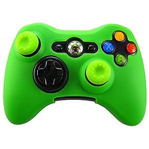 Pandaren® Silikon hülle skin für Xbox 360 controller (grün) x 1 + thumb grip aufsätze x 2