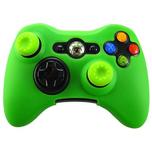 Pandaren® Peau skin cover de silicone pour Manette Xbox 360 (vert) + thumb grip thumbstick x 2