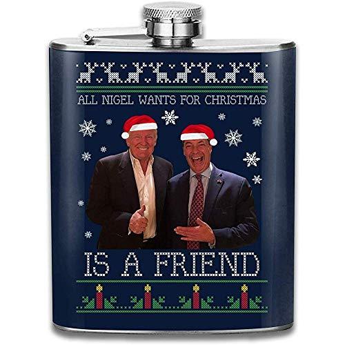 Donald Trump Nigel Farage Freunde Stricken Print Flachmann Tasche Flasche Flagon Portable Edelstahl Flagon 7OZ