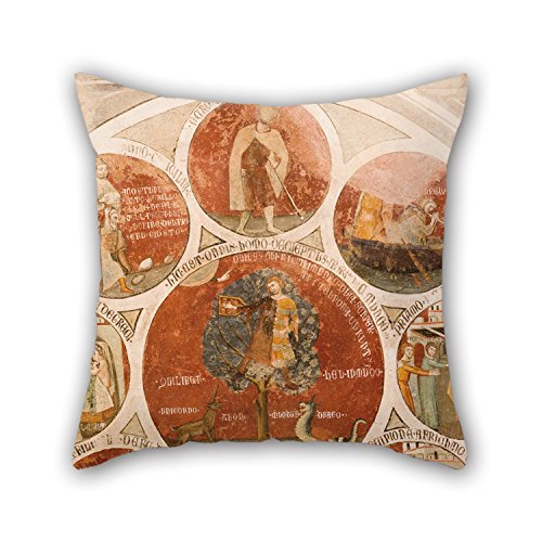 Bestseason 20 X 20 Inches / 50 By 50 Cm Oil Painting Cristoforo Di Bindoccio, Meo Di Pero - Wheel Of Barlaam; Wheel Of Aristotle With The Cardinal Virtues; The Judgement Of Solomon Pillowcover,two