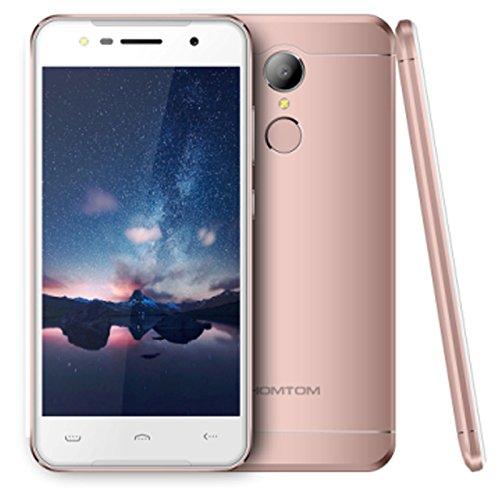 HOMTOM HT37 3G- Smartphone Libre, 5.0 pulgadas HD Pantalla MTK6580 Quad-core 1.3 GHz CPU Android 6.0 2 GB RAM, 16 GB ROM, 5 MP + 13 MP, Cámara 3000 mAh Batería, Dual SIM huella digital, Oro rosa