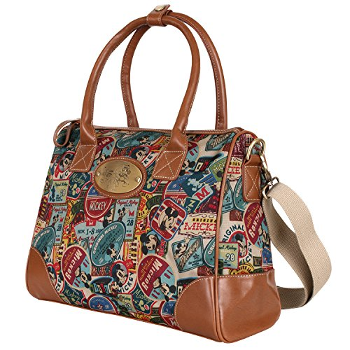 Bag Handle Top (Disney Vintage Mickey Pattern Top Handle Satchel Bag With Mini Purse Pouch(bag-059-1))