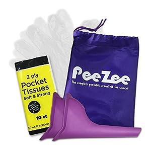 4 Pack Frauen Urinal Unterwegs Kit – 1 Wasserdichte Tasche, 2X Pinkeltrichter, 1x Packung der Taschentücher & 1 x10 Einweghandschuhe – Wiederverwendbar & Tragbar – Urinella, Pinkelhilfe für Frauen
