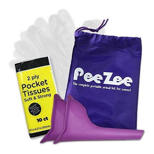 Urinal-tasche (Frauen Urinal Pinkelhilfe Unterwegs Kit für Festivals / Reisen Outdoor - Enthält wasserdichten Urinbeutel, 2 x Urin-Trichter, 1 x Packung der Taschentücher & Hygienische Einweghandschuhe/ Urinella/ Pinkeln im Stehen für Frauen (inkl. Gebrauchsanweisungen))