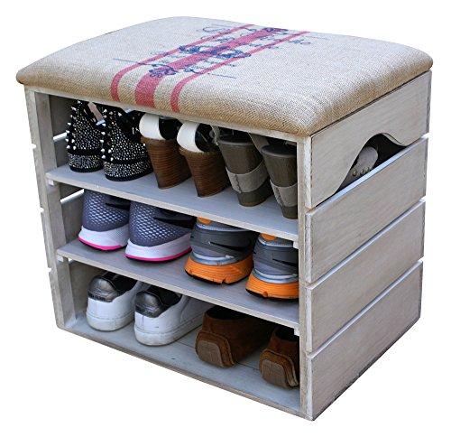LIZA LINE MEUBLE CHAUSSURES (BLANC VIEILLI), BANC de RANGEMENT pour Chaussures avec ÉTAGÈRES. Assise Confortable en Tissu. Bois Massif Scandinave - 51 x 45 x 36 cm (Lignes Rouges)