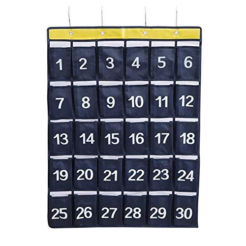 Tragbar 30 Taschen Klassenzimmer Tasche Hängender Organisator Wasserdicht Tasche Diagramm mit 4 Haken für Handys und Taschenrechner Organizer Wand (Navy blau) -