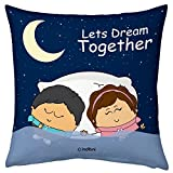 Valentine Gifts for Boyfriend Girlfriend Blue 12X12 Printed Filled Cushion Cute Couple Dreaming Together Gift for Him Her Fiance Spouse Husband Wife Birthday Anniversary Everyday