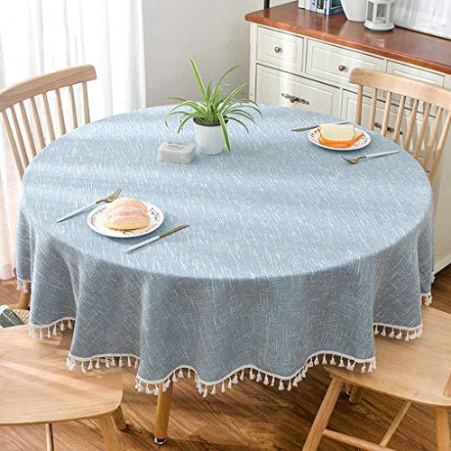 estil Einfarbig Sackleinen Tischdecke Couchtisch Runde Tischdecke Abdeckung Tuch Blau (Quaste) (Durchmesser 190cm) ()