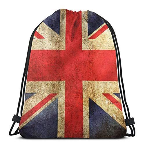 Bag hat Old Distressed Union Jack 3D Print Drawstring Backpack Rucksack Shoulder Gym for Adult 16.9