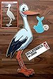SET - 95 cm Babystorch aus HOLZ & Baby JUNGE & Beschriftungstafel für draußen Geburt Storch-Holz Klapperstorch Holzstorch BLAU (EINSEITIG bedruckt, 95x45 cm)