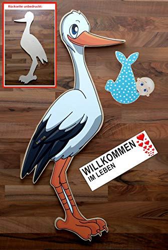 SET - 95 cm Babystorch aus HOLZ & Baby JUNGE & Beschriftungstafel für draußen Geburt Storch-Holz Klapperstorch Holzstorch BLAU (EINSEITIG bedruckt, 95x45 cm) (Storch Mit Baby)