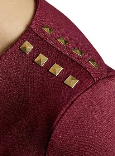 oodji Ultra Damen Kleid mit Metall-Deko auf den Schultern Rot (4900N)