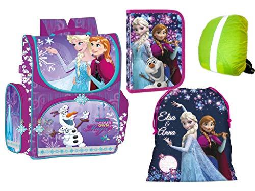 Disney Frozen Anna, ELSA, Olaf Schulranzen Set Schulrucksack Kinderrucksack, Federmappe, Schuhbeutel, Regenschutz Motivdruck 4-teilig
