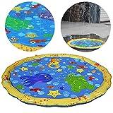 Splash Pad Sprinkle und Splash Spielmatte Sommer Garten Wasserspielzeug 100CM Splash Play Matte für Kinder, Baby, Hund und Haustiere Outdoor Familienaktivitäten