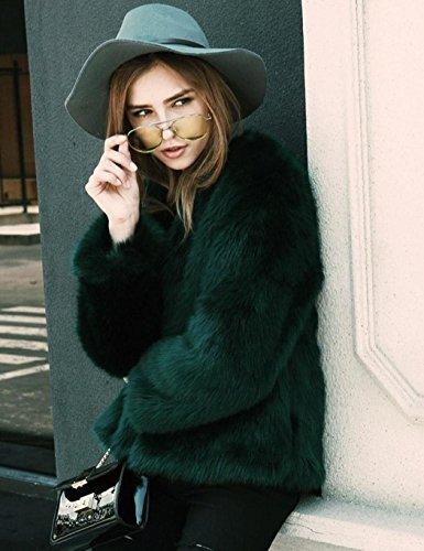 Lonlier Femme Manteau Blouson Fourrure Faux Manche Longue Veste Jacket Simple Vert
