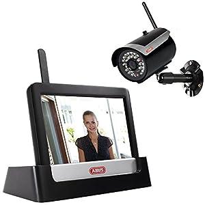 ABUS Funk-Videoüberwachungs-Set TVAC16000A / TVAC16001A inkl. Infrarot Außenkamera + Touchscreen | Nachtsichtfunktion | mobiler Zugriff via App | 150m Funk-Reichweite | schwarz | 59877