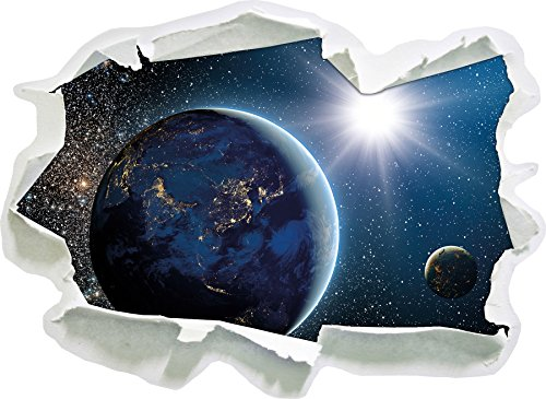 Erde im Weltall , Papier 3D-Wandsticker Wanddekoration 3D-Wandaufkleber Wandtattoo