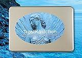 """TrostKästchen-Set (Trost-Karten / Trauer-Karten): 10 moderne Karten / Klappkarten (DIN A6) zum Thema """"Trost, Trauer & Abschied"""", inklusive 10 vollflächig bedruckten, farbigen Umschlägen + das """"Kästchen"""" – eine hochwertige Metall-Box (Aufbewahrungsbox / Geschenk-Box)"""