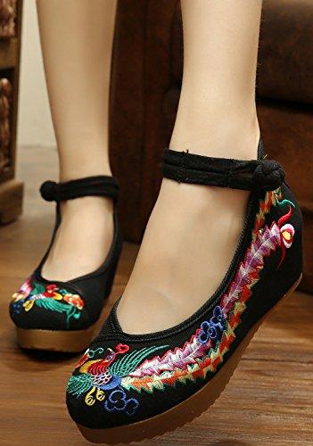 ICEGREY Women's Handmade Embroidered Pheonix Wedge Mary Jane Shoes