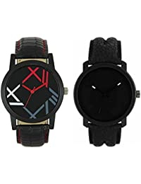 REDOX® Analogue Black Dial Watch Leather Strap Attractive Stylish Combo Watch -For Men's & Boy's (Pack Of 2)