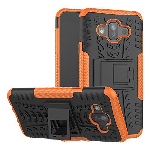zl one Carcasa para Samsung Galaxy J7 Duo Funda Hybrid Dual Layer Heavy Duty Shockproof + 1 Protector de Pantalla Cristal Tempered Glass Vidrio Templado -Orange