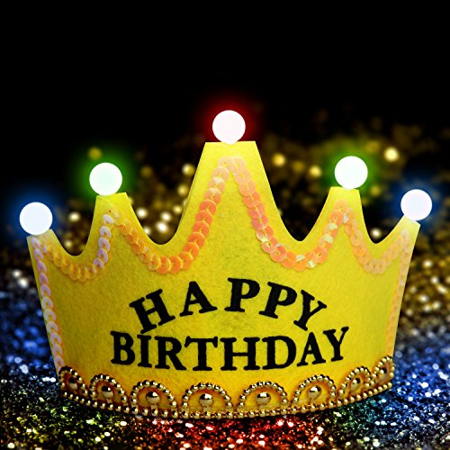 , Party-Kopfschmuck, Geburtstags-Krone, Königskrone/Prinzessinnen-Krone; Tiara mit bunter LED-Beleuchtung; erhältlich in verschiedenen Farben und mit unterschiedlicher Aufschrift (Geburtstag Prinzessin Krone)