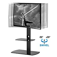 Fitueyes Swivel Floor tv stand with mount and two shelves for 32-50inch Sony/ Samsung /LG/ Vizio TVy/ Samsung /LG/ Vizio TV