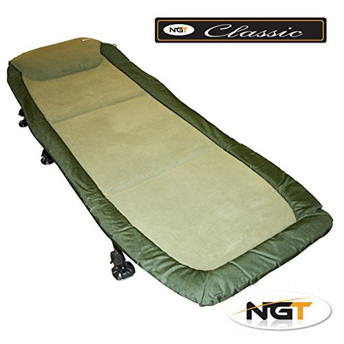 NGT Carp Fishing Bedchair Bed Chair With 6 Adjustable Legs Very Soft Micro Fleece Fabric Mattress For A Good Night Sleep by NGT