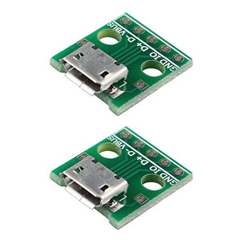 Haljia Micro-USB-auf-DIP-Adapter, 5-Pin-Buchse, B-Typ, PCB-Konverter-Modulplatine, 2 Stück
