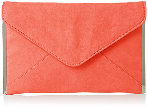 Swankyswans Damen Louis Suede Slim Envelope Party Prom Clutch Bag Tasche, Orange (Neon-Korallenrot), One Size Glitter Patent Schuhe