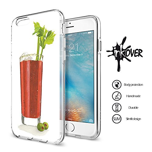 Cover iPhone 6 / 6S - INKOVER - Custodia Cover Protettiva Guscio Soft Case Bumper Trasparente Sottile Slim Fit Tpu Gel Morbida INKOVER Design JOKER Smile Cavaliere Oscuro Bat Man per APPLE iPhone 6 /  BLOOD MARY