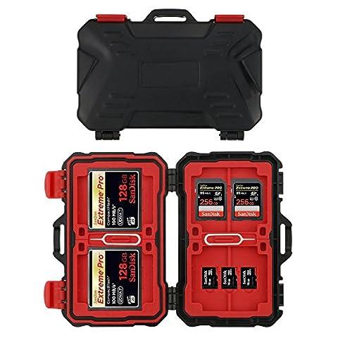 Philonext Étuis Pour CartesMémoire CF/SD/TF 24 Fentes Étanche Boîte de Rangement de CartesPour Protection et Antichoc 12 Cartes Micro SD 8 Cartes SD et 4 Cartes