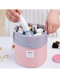 3PC nuevo de la manera del recorrido del maquillaje del bolso cosmético de la bolsa del bolso del artículo de tocador antiguo caja cilíndrica, Rosa
