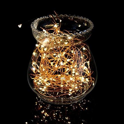Luci a led con stringa in rame, luci con filo di rame, luci stellate con corda, luci oxyled ad intensità variabile con filo per decorazione per giardino, patio, alberi, feste, natale, arredamento per interni ed esterni (120 led, 40 piedi, bianco caldo)
