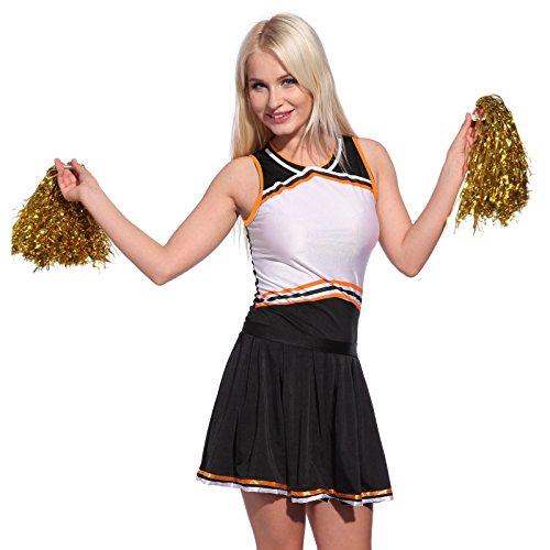 Mädchen Cheerleader-uniform (Anladia Cheerleader Kostuem Uniform Cheerleading Cheer Leader mit Pompon Minirock GOGO Damen Maedchen Karneval Fasching (S, Schwarz))